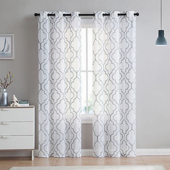 Alternate image 1 for VCNY home Charlotte Emroidery 96-Inch Grommet Top Sheer Window Curtain Panel Pair in Light Grey