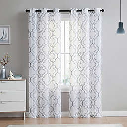 VCNY Home Charlotte Emroidery 2-Pack 84-Inch Grommet Top Sheer Window Curtain Panels in Light Grey