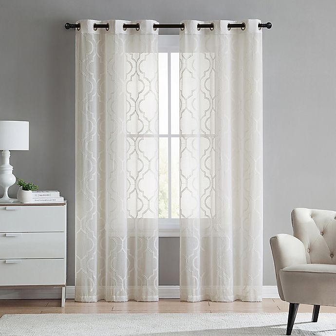 Alternate image 1 for VCNY Home Charlotte Emroidery 2-Pack 84-Inch Grommet Top Sheer Window Curtain Panels in Ivory