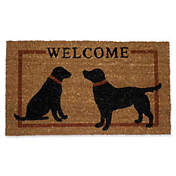 Nature by Geo Crafts Two Dog Welcome 18-Inch x 30-Inch Door Mat in Rusty Brown