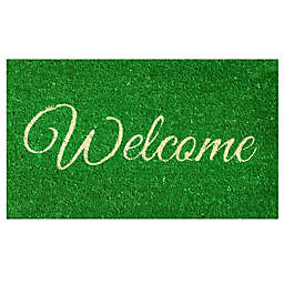 Home & More Welcome 17-Inch x 29-Inch Door Mat in Green/White