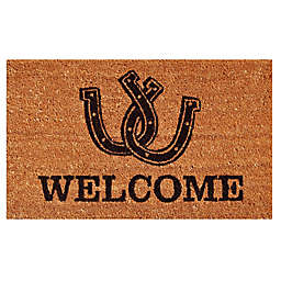 Home & More Horseshoe Welcome 17-Inch x 29-Inch Door Mat in Natural/Black