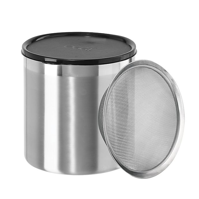Alternate image 1 for Oggi® 4 qt. Stainless Steel Jumbo Grease Can with Strainer and Cover