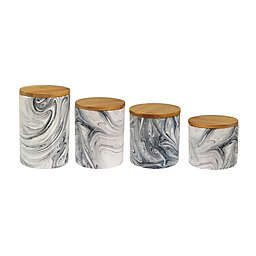 American Atelier 4-Piece Marble Canister Set in Grey