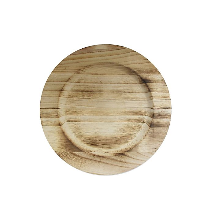 Alternate image 1 for Charge It By Jay! 13-Inch Wooden Charger Plate in Brown