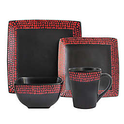 American Atelier Rowen 16-Piece Dinnerware Set in Black/Red