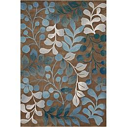 Nourison Contours Botanical Rectangle Rugs in Mocha/Blue