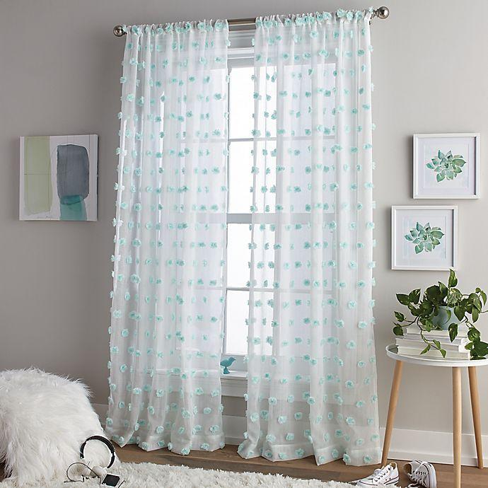 Alternate image 1 for Pom Pom 63-Inch Rod Pocket Window Curtain Panel in Aqua