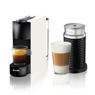 Nespresso - Breville Essenza Mini Espresso Machine with 19 bars of pressure and Aeroccino Milk Frother - Pure White