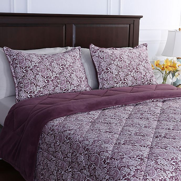 Alternate image 1 for Berkshire Blanket® Floral Lace Reversible Full/Queen Comforter in Purple