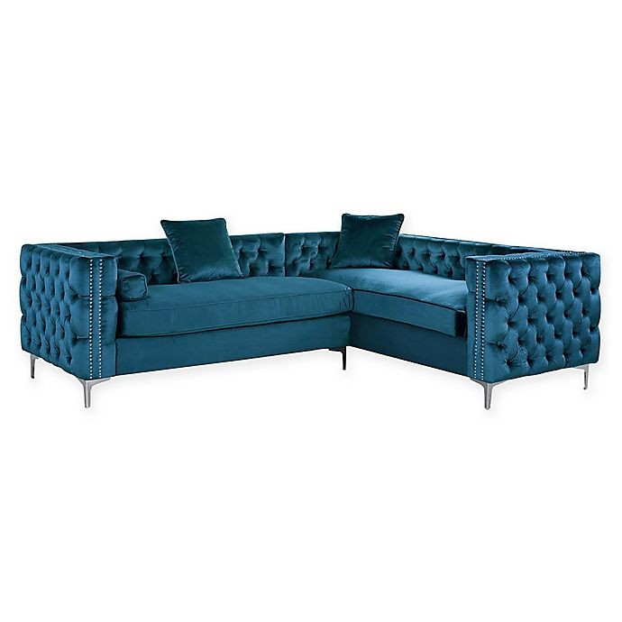 Chic Home Astrid Right Facing Velvet Sectional Sofa Bed Bath Beyond