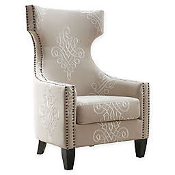 TOV Furniture Gramercy Embroidered Linen Wing Chair in Beige
