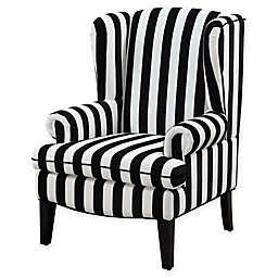 TOV Furniture Paris Wingback Velvet Chair in Black/White