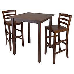 Parkland 3 Piece High Table Dining Set In Antique Walnut