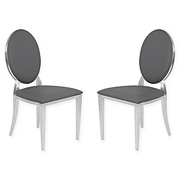 Armen Living Cielo Brushed Steel Dining Chairs in Grey (Set of 2)