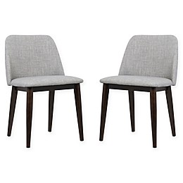Armen Living Horizon Wood Upholstered Dining Chairs in Brown/Grey (Set of 2)