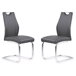 Armen Living Bravo Brushed Steel Dining Chairs in Grey (Set of 2)