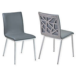 Armen Living Crystal Brushed Steel Dining Chairs in Vintage Grey (Set of 2)