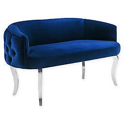 TOV Furniture Adina Velvet Loveseat with Silver Legs