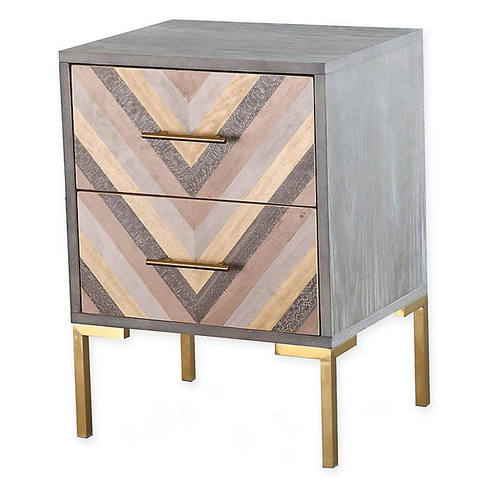 Tov Furniture Quinn Nightstand In Grey Gold