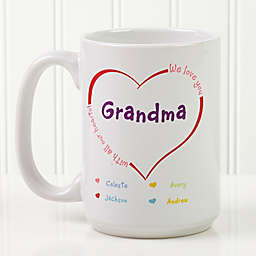 All Our Hearts 15 oz. Personalized Coffee Mug in White