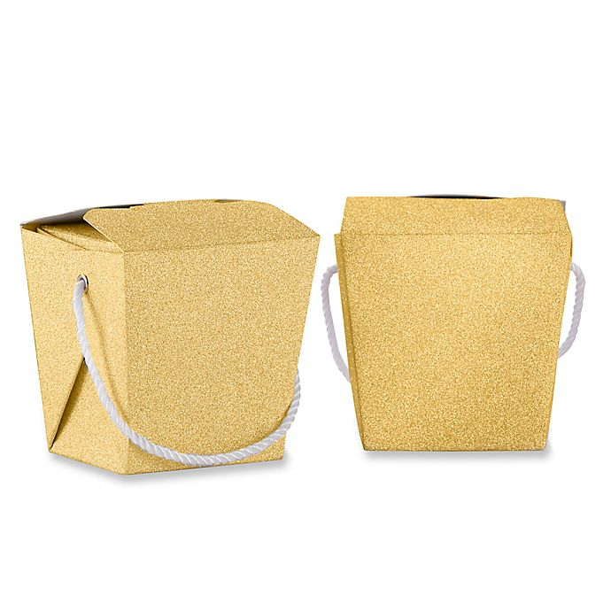 Alternate image 1 for Kate Aspen® 12-Pack Glitter Take Out Boxes in Gold