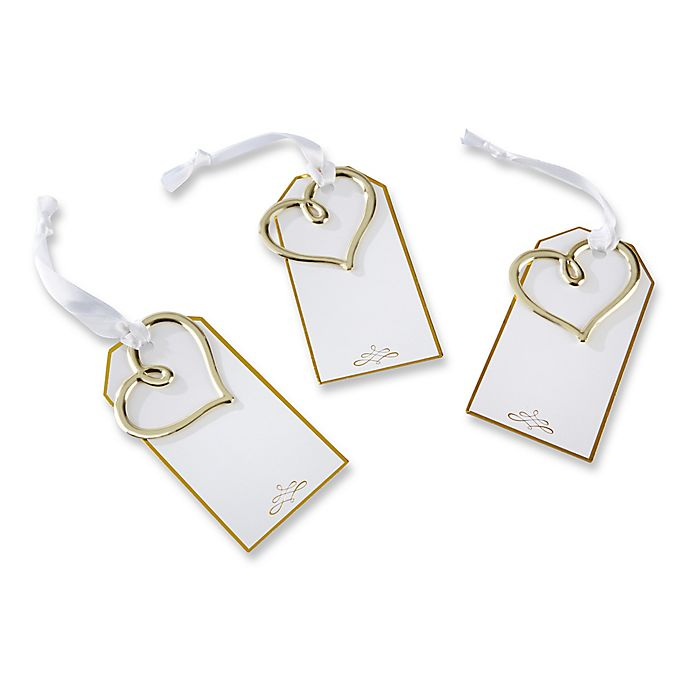 Alternate image 1 for Kate Aspen® 12-Pack Heart Escort Cards in Gold