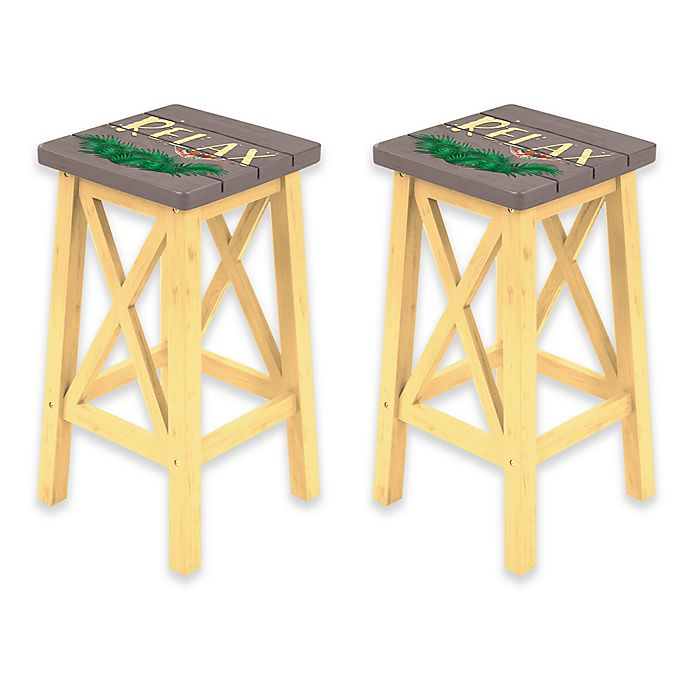 Margaritaville 174 Relax Bar Stools In Grey Yellow Set Of 2