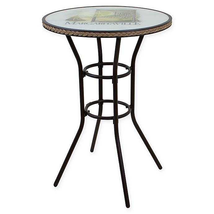 Margaritaville 174 Bar Height Outdoor Wicker Bistro Table