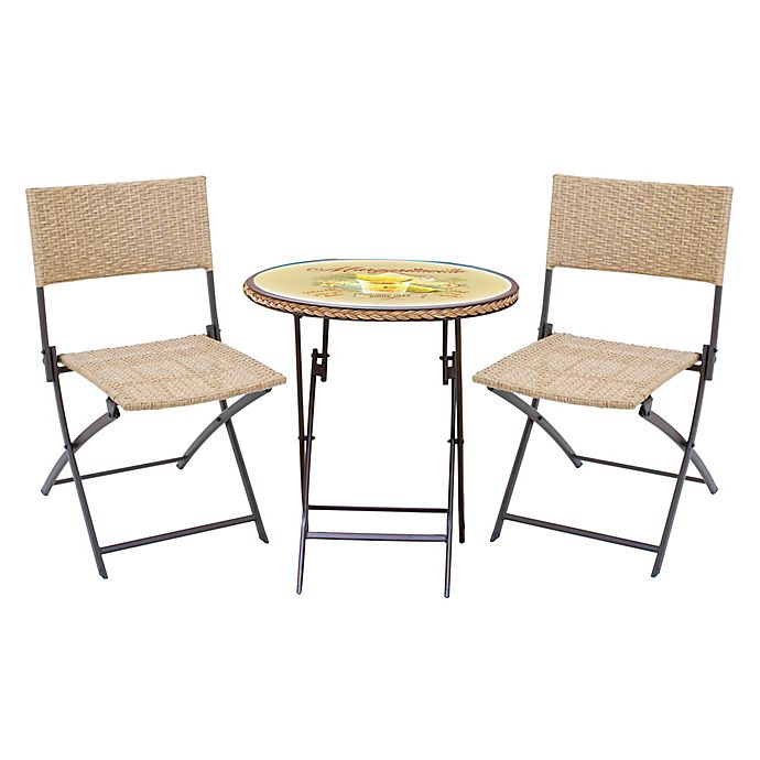 Alternate image 1 for Margaritaville® Hemmingway 3-Piece Wicker Bistro Set in Yellow/Brown