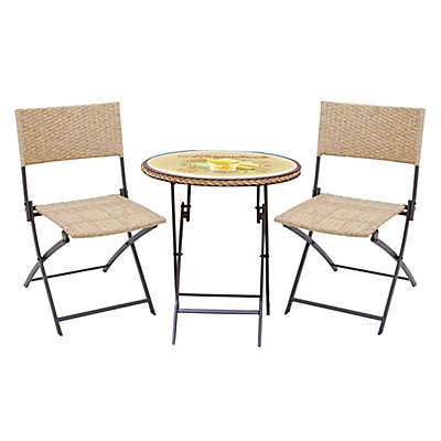 Margaritaville® Hemmingway 3-Piece Wicker Bistro Set in Yellow/Brown