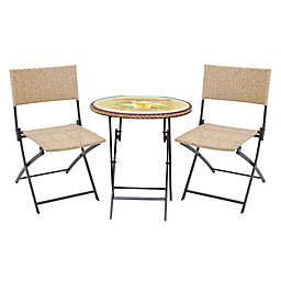 Margaritaville® Hemmingway 3-Piece Wicker Bistro Set in Yellow/Brown