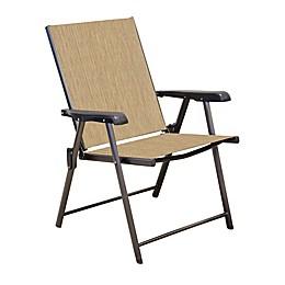 Never Rust Aluminum Sling Folding Chair in Bronze