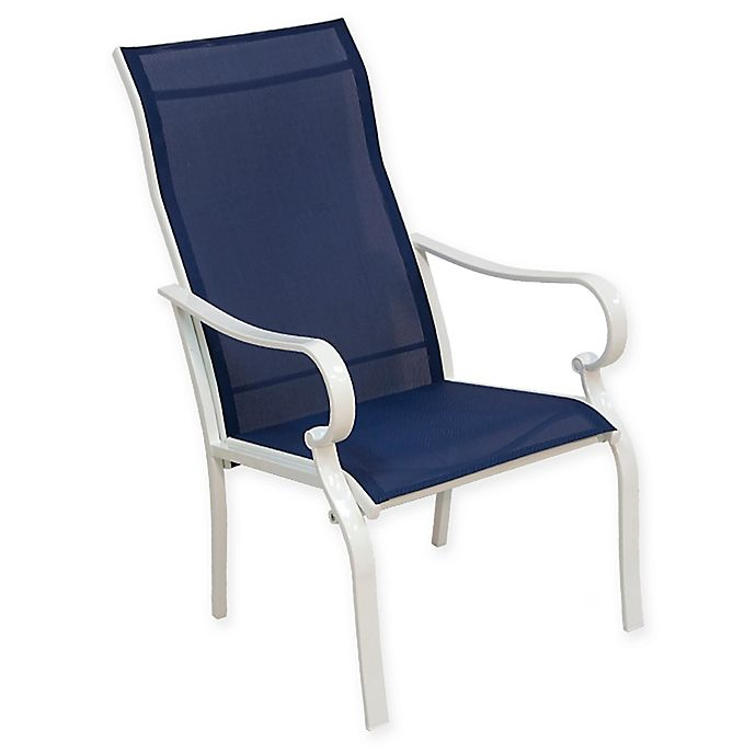 Alternate image 1 for Never Rust Aluminum Sling Dining Chairs in White/Blue (Set of 2)