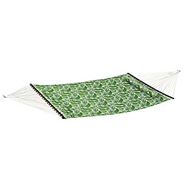 Palm Print Woven Hammock with Pillow