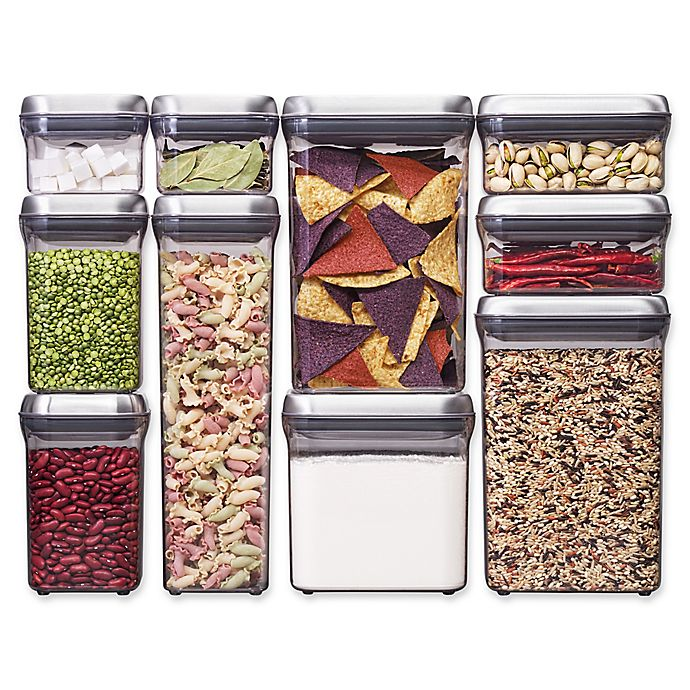 Alternate image 1 for OXO Good Grips® 10-Piece Food Storage Pop Container in Stainless Steel