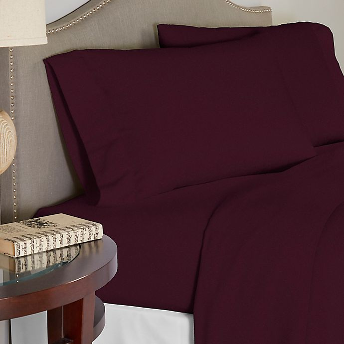 Alternate image 1 for Pointehaven 200 GSM Flannel Queen Sheet Set in Plum