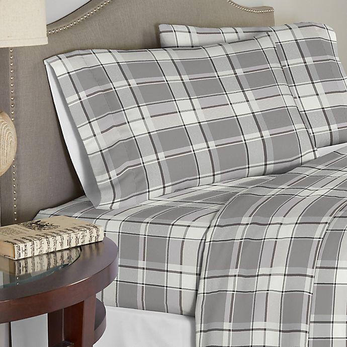 Alternate image 1 for Pointehaven 200 GSM Flannel Full Sheet Set in Light Grey/Dark Grey