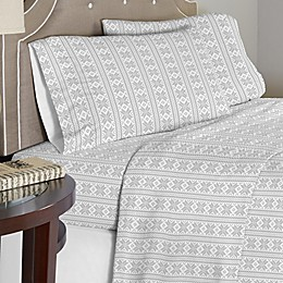 Pointehaven 175 GSM Fair Isle Flannel Sheet Set in Grey/White