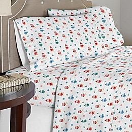Pointehaven 175 GSM Owl Flannel Sheet Set in Red/Green
