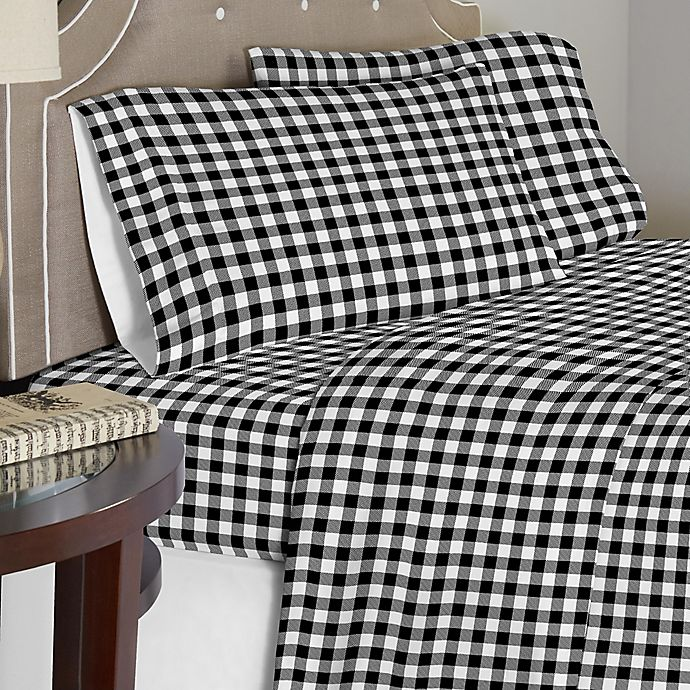 Pointehaven 175 Gsm Milton Flannel Sheet Set In White Black Bed Bath Beyond