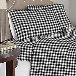 Pointehaven 175 GSM Milton Flannel Sheet Set in White/Black