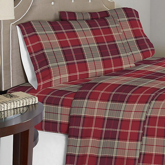 Alternate image 1 for Pointehaven Piedmont Plaid 175 GSM Flannel Twin XL Sheet Set in Red/Brown