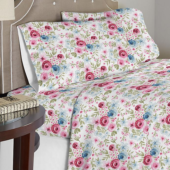 Pointehaven 175 Gsm Sylvan Flannel Sheet Set In Pink Green Bed Bath And Beyond Canada