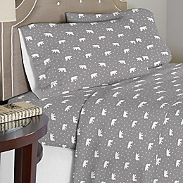 Pointehaven 175 GSM Polar Bear Flannel Sheet Set in White/Grey