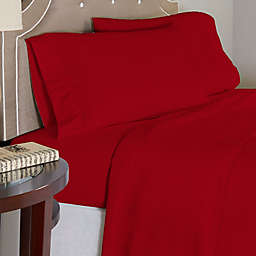 Pointehaven 175 GSM Solid Flannel King Sheet Set in Red