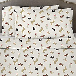 Pointehaven 170 GSM Winter Dogs Flannel Twin Sheet Set
