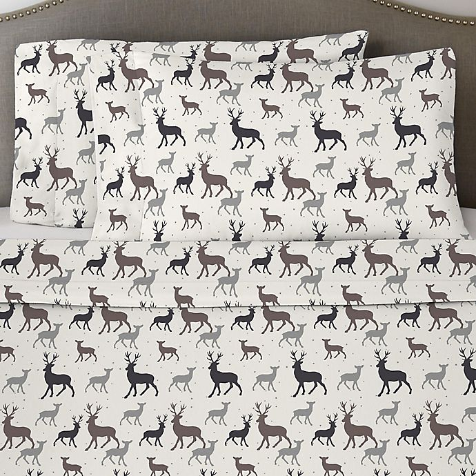Alternate image 1 for Pointehaven 170 GSM Autumn Deer Flannel Twin Sheet Set in White/Grey