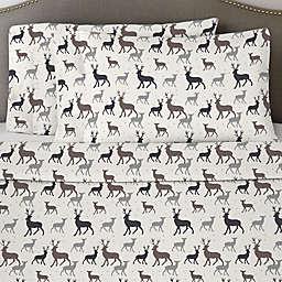 Pointehaven 170 GSM Autumn Deer Flannel California King Sheet Set in White/Grey