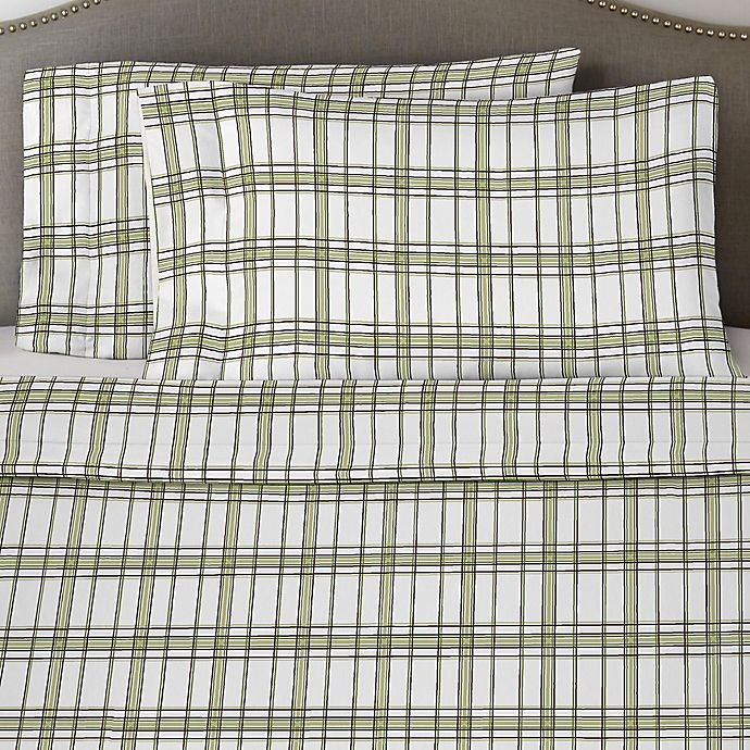 Alternate image 1 for Pointehaven 170 GSM Plaid Flannel Twin Sheet Set in Sage/White